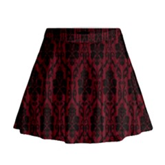 Elegant Black And Red Damask Antique Vintage Victorian Lace Style Mini Flare Skirt
