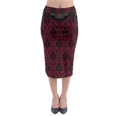 Elegant Black And Red Damask Antique Vintage Victorian Lace Style Midi Pencil Skirt
