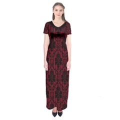 Elegant Black And Red Damask Antique Vintage Victorian Lace Style Short Sleeve Maxi Dress