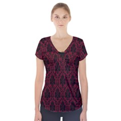 Elegant Black And Red Damask Antique Vintage Victorian Lace Style Short Sleeve Front Detail Top