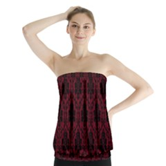 Elegant Black And Red Damask Antique Vintage Victorian Lace Style Strapless Top