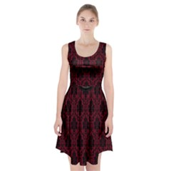 Elegant Black And Red Damask Antique Vintage Victorian Lace Style Racerback Midi Dress
