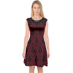 Elegant Black And Red Damask Antique Vintage Victorian Lace Style Capsleeve Midi Dress