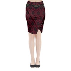 Elegant Black And Red Damask Antique Vintage Victorian Lace Style Midi Wrap Pencil Skirt