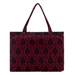 Elegant Black And Red Damask Antique Vintage Victorian Lace Style Medium Tote Bag