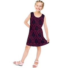 Elegant Black And Red Damask Antique Vintage Victorian Lace Style Kids  Tunic Dress