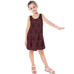 Elegant Black And Red Damask Antique Vintage Victorian Lace Style Kids  Sleeveless Dress