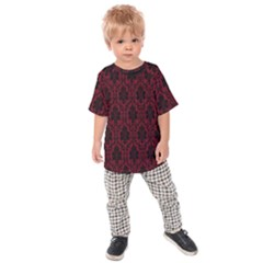 Elegant Black And Red Damask Antique Vintage Victorian Lace Style Kids  Raglan Tee