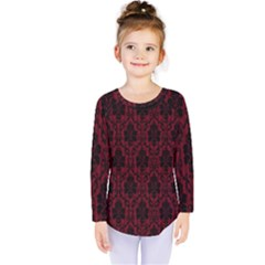 Elegant Black And Red Damask Antique Vintage Victorian Lace Style Kids  Long Sleeve Tee