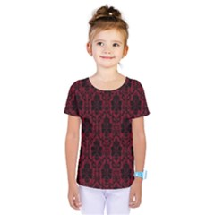 Elegant Black And Red Damask Antique Vintage Victorian Lace Style Kids  One Piece Tee