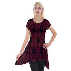 Elegant Black And Red Damask Antique Vintage Victorian Lace Style Short Sleeve Side Drop Tunic