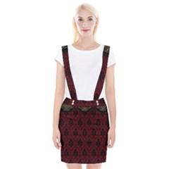 Elegant Black And Red Damask Antique Vintage Victorian Lace Style Suspender Skirt