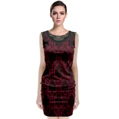 Elegant Black And Red Damask Antique Vintage Victorian Lace Style Sleeveless Velvet Midi Dress