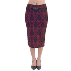 Elegant Black And Red Damask Antique Vintage Victorian Lace Style Velvet Midi Pencil Skirt