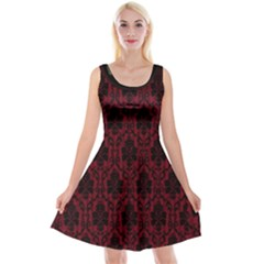 Elegant Black And Red Damask Antique Vintage Victorian Lace Style Reversible Velvet Sleeveless Dress