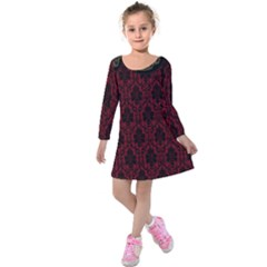 Elegant Black And Red Damask Antique Vintage Victorian Lace Style Kids  Long Sleeve Velvet Dress