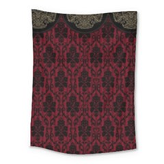 Elegant Black And Red Damask Antique Vintage Victorian Lace Style Medium Tapestry