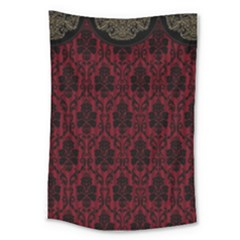 Elegant Black And Red Damask Antique Vintage Victorian Lace Style Large Tapestry