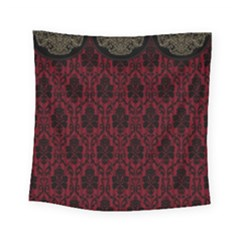 Elegant Black And Red Damask Antique Vintage Victorian Lace Style Square Tapestry (Small)