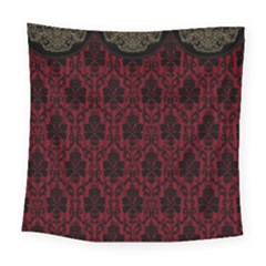 Elegant Black And Red Damask Antique Vintage Victorian Lace Style Square Tapestry (Large)