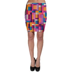Abstract Background Geometry Blocks Bodycon Skirt