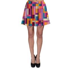Abstract Background Geometry Blocks Skater Skirt