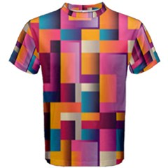 Abstract Background Geometry Blocks Men s Cotton Tee