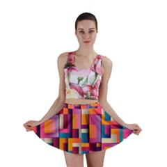 Abstract Background Geometry Blocks Mini Skirt