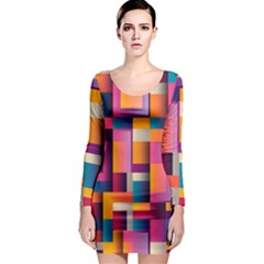 Abstract Background Geometry Blocks Long Sleeve Bodycon Dress