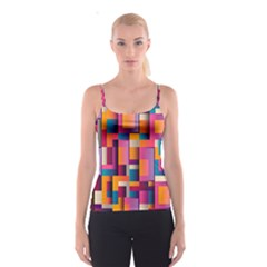 Abstract Background Geometry Blocks Spaghetti Strap Top