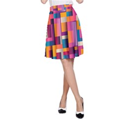 Abstract Background Geometry Blocks A-Line Skirt