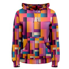 Abstract Background Geometry Blocks Women s Pullover Hoodie