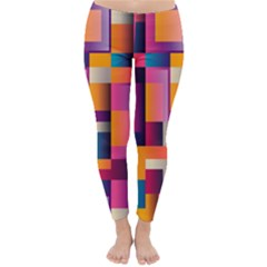 Abstract Background Geometry Blocks Classic Winter Leggings