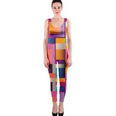 Abstract Background Geometry Blocks OnePiece Catsuit