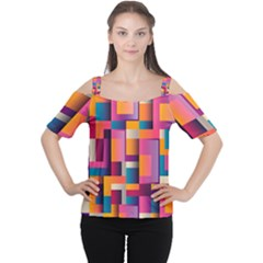 Abstract Background Geometry Blocks Women s Cutout Shoulder Tee
