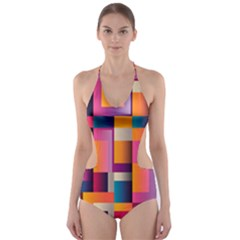 Abstract Background Geometry Blocks Cut-Out One Piece Swimsuit