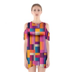 Abstract Background Geometry Blocks Shoulder Cutout One Piece