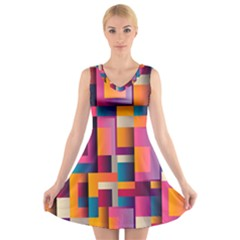 Abstract Background Geometry Blocks V Neck Sleeveless Skater Dress