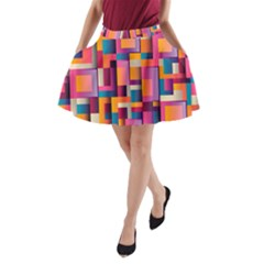 Abstract Background Geometry Blocks A Line Pocket Skirt
