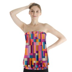 Abstract Background Geometry Blocks Strapless Top