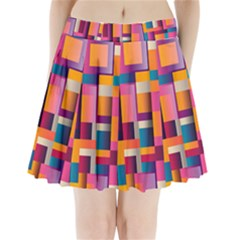 Abstract Background Geometry Blocks Pleated Mini Skirt