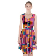 Abstract Background Geometry Blocks Racerback Midi Dress