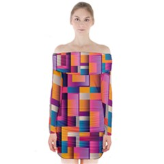 Abstract Background Geometry Blocks Long Sleeve Off Shoulder Dress