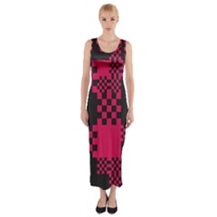 Cube Square Block Shape Creative Fitted Maxi Dress