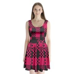 Cube Square Block Shape Creative Split Back Mini Dress