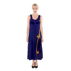 Greeting Card Invitation Blue Sleeveless Maxi Dress