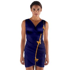 Greeting Card Invitation Blue Wrap Front Bodycon Dress