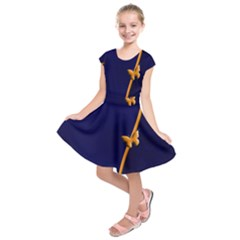 Greeting Card Invitation Blue Kids  Short Sleeve Dress