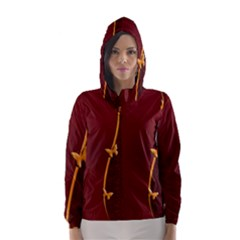 Greeting Card Invitation Red Hooded Wind Breaker (Women)