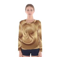 Gold Background Texture Pattern Women s Long Sleeve Tee